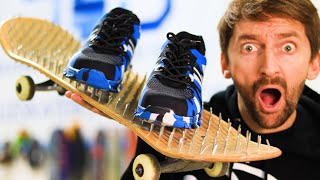 BED OF NAILS SKATEBOARD OFF A 10 FT DROP! INDESTRUCTABLE SHOE TEST!