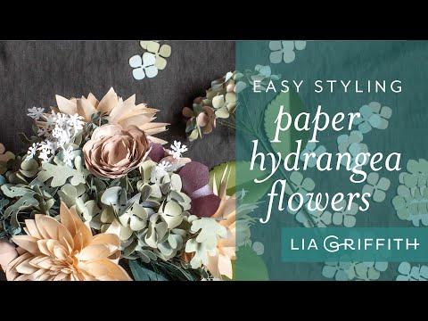 Arranging Paper Hydrangeas