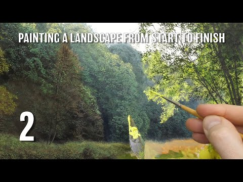 #129 how to paint a landscape from start to finish | Part 2