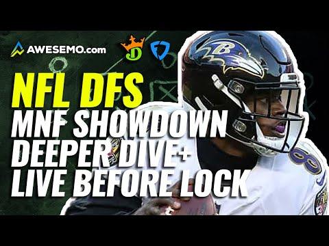 NFL DFS Showdown Deeper Dive & Live Before Lock MNF Week 1 Ravens-Raiders | Monday 9/13