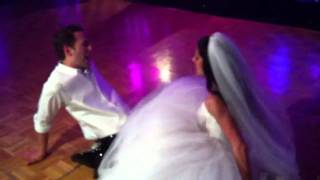 Newly married couple sexing on dancefloor