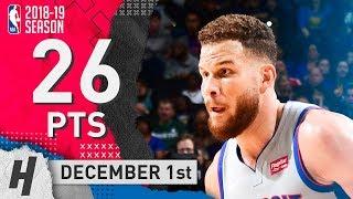 Blake Griffin Full Highlights Pistons vs Warriors 2018.12.01 - 26 Pts, 5 Ast, 6 Rebounds!