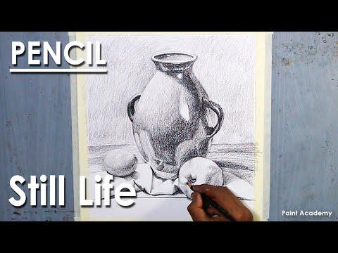 Still Life Drawing in Pencil : Jug & Fruits | step by step shading