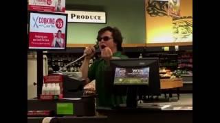 Man sings R.Kelly - Bump N' Grind on work