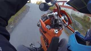 GoPro: Short ride! KTM EXC 125 wheelies, Yamaha Grizzly 450, Honda CBF 125