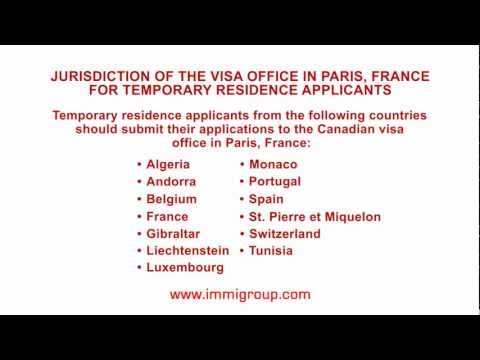 Jurisdiction of the visa office in Paris, France for temporary residence applicants