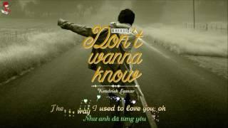 [Vietsub+Lyrics] Maroon 5 - Don't Wanna Know ft.  Kendrick Lamar