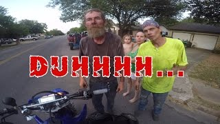 IDIOT THROWS METAL AT BIKER