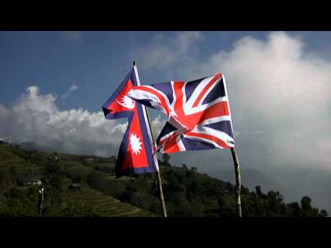 Union Jack and the Nepalia Flag flying together