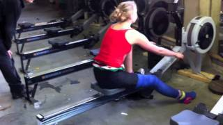 Training Sabine long leg cast in the gym