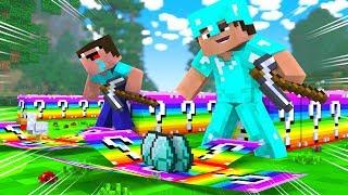 Minecraft - RAINBOW LUCKY BLOCK RACE! (NOOB vs PRO vs HACKER)