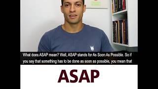 The meaning of ASAP | Helder Batista | Dicas rápidas