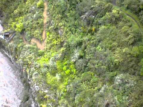 Jumping off a bridge in Banos, Ecuador