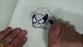 Erik Larsen drawing Spider Man + Batman vs. Deadpool