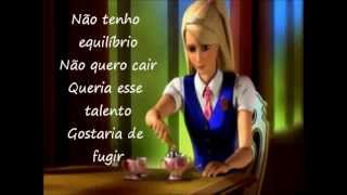 Barbie em a escola de princesas NO TOPO DO MUNDO com legenda.