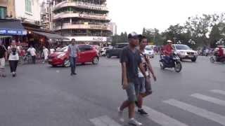 Crossing the street in Hanoi
