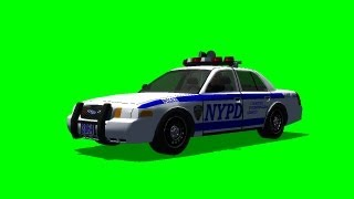 Police Car driving through the picture - different views - green screen