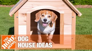 A video featuring different styles of dog houses.