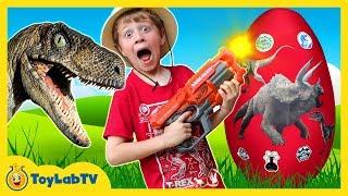 GIANT Life Size Raptor Attacks LB, Dinosaur Surprise Egg w/ Dino Kid Family Game, Toys & Gummy Candy