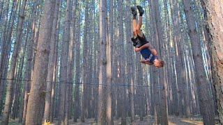 Crazy Slackline Tricks in a Forest