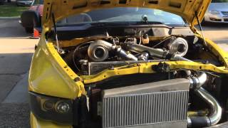 Twin turbo 392 stroker hemi rumble bee exhaust through fenders