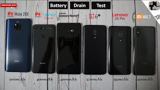 Honor View 20 vs Mate 20X vs Lenovo Z5 Pro vs Note 9 vs OnePlus 6T vs MIX 3 Battery Life Drain Test
