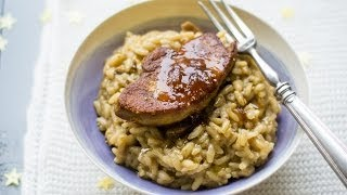 Risotto aux cèpes et foie gras poêlé aux épices et confit d'oignons rouges