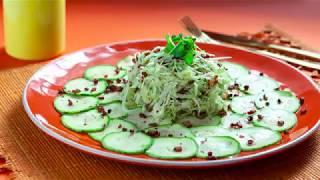 Carpaccio abobrinha com salada de repolho