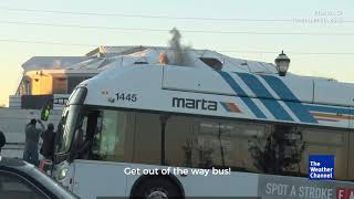 Bus Photobombs The Weather Channel's Stream of Georgia Dome Implosion
