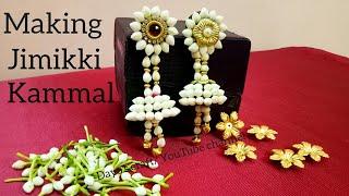 Making Bahubali style easy Flower Jewellery| Jumukkas| step by step making Jimikki kammal width=