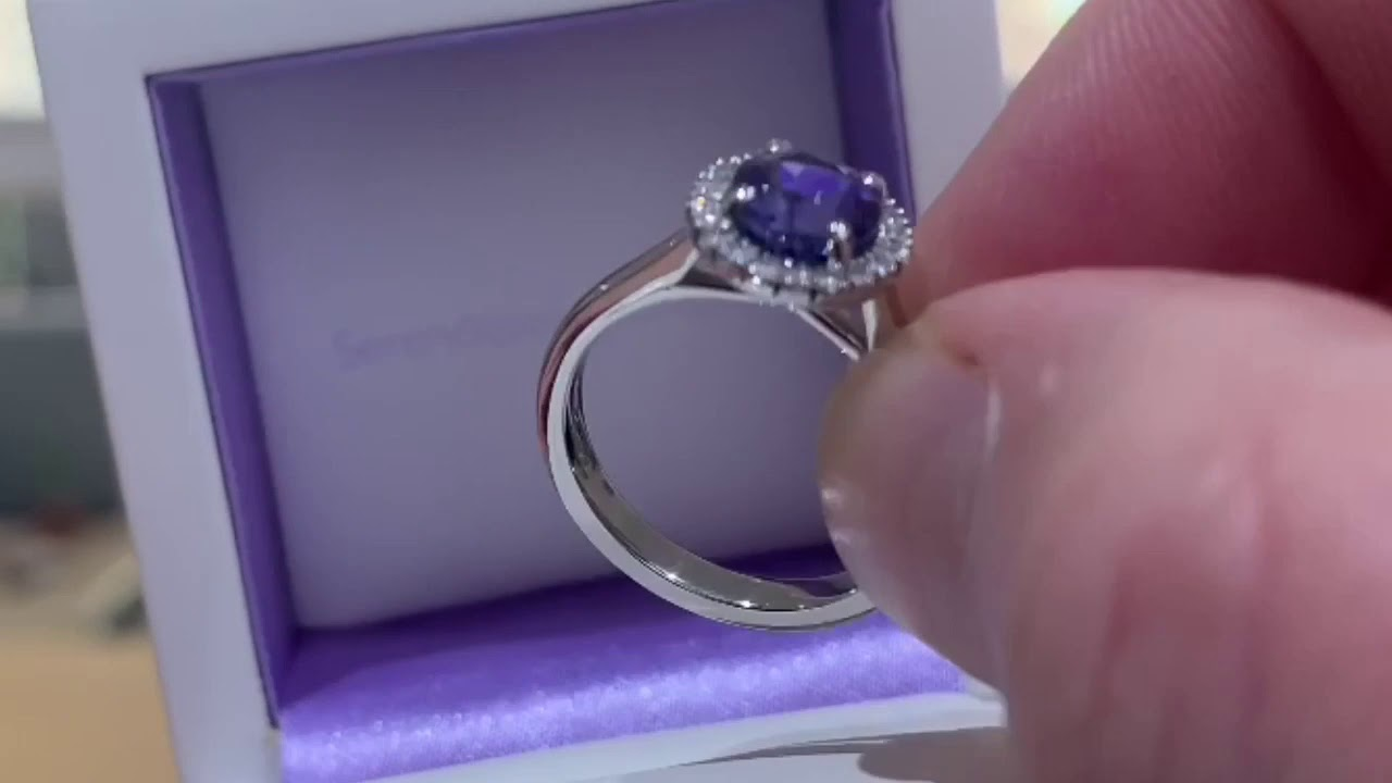 Tanzanite Diamond Halo Engagement Ring
