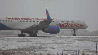 LBA - Snowy Departure | Jet2holidays Boeing 757 G-LSAK | DEC 2017