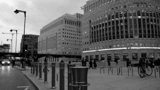 London stock exchange - time-lapse black and white