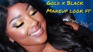 GOLD N BLACK GLAM AF MAKEUP TUTORIAL! ft Morphe 35W Palette!