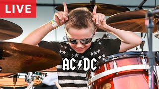 Highway To Hell, LIVE - 9 year old Drummer - Avery Drummer Molek & Back In Black (Drum Cover)