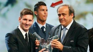 La Cara de Cristiano Ronaldo cuando Messi Gana el Premio Mejor Jugador de Europa 2015
