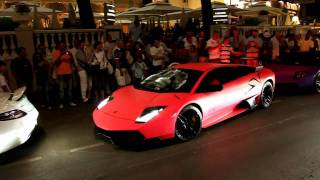 Pink Lamborghini LP 670-4 SV Sound leaving the Carlton in Cannes !