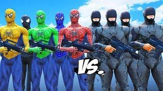 Spider-Man, Green Spiderman, Blue Spiderman, Yellow Spiderman, Black Spiderman VS RoboCop Army