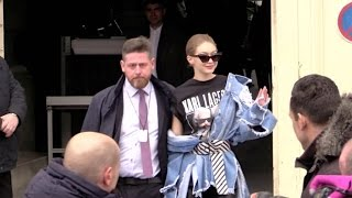 Gigi Hadid coming out of the 2017 Chanel show in Paris