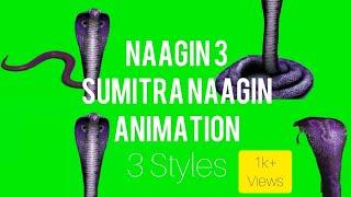 #Naagin3 Sumitra Snake Animation | 3 Styles #Sumitra Animation | Purple Snake on Green Screen