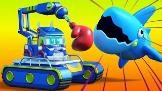 Truck cartoons for kids - SHARK ATTACK - Super Truck in Car City !