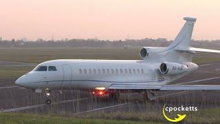 Dassault Falcon 7x SE-DJK - Beautiful Sunset Departure - Gloucestershire Airport