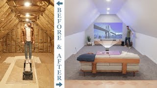 DIY ATTIC TO 4K HOME THEATER RENOVATION   how to remodel an attic.