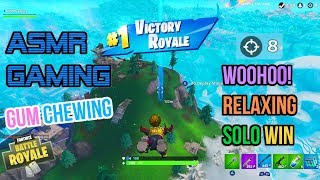 ASMR Gaming | Fortnite Woohoo! Relaxing Solo Win Gum Chewing 🎮🎧Controller Sounds + Whispering😴💤
