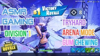 ASMR Gaming | Fortnite Tryhard Arena Mode Division 1 Gum Chewing 🎮🎧Controller Sounds + Whispering😴💤