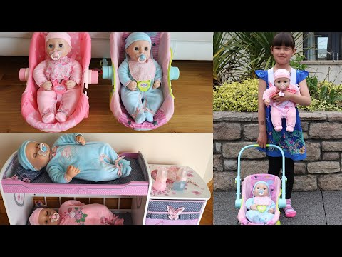 Download Video New Baby Annabell  & Baby Annabell Brother Doll Plus Baby Doll Carrier And Travel Seat Nursery Toys