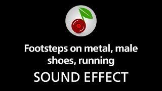 Footsteps on metal, male shoes, running, sound effect