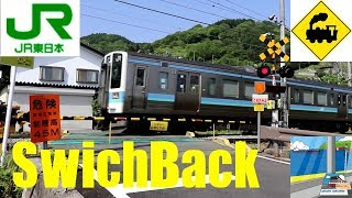 スイッチバック踏切 JR篠ノ井線Railway crossing JR-Shinonoi line(Nagano japan)