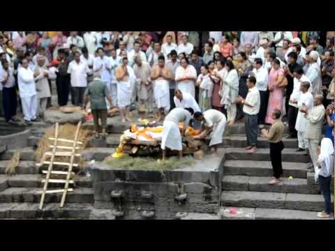 Corpse Preparation for Cremation at the Pashupatinath Temple on the Bagmati River