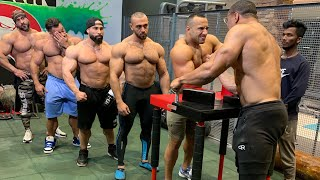 I ARM WRESTLED 5 OF THE BIGGEST GUYS IN THE GYM!